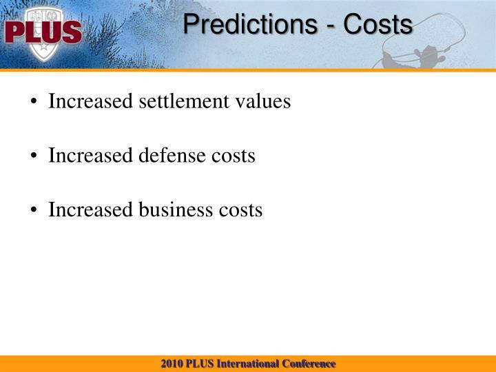 Predictions - Costs