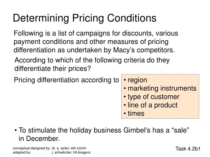 Determining Pricing Conditions