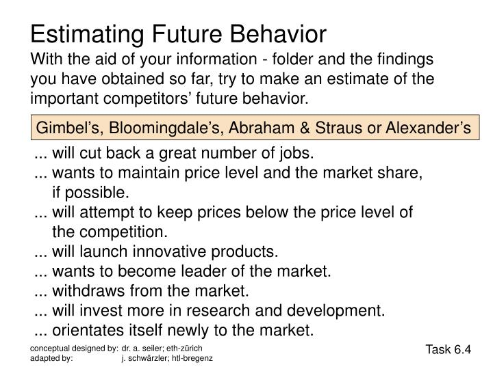 Estimating Future Behavior