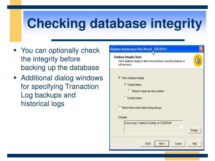 Checking database integrity