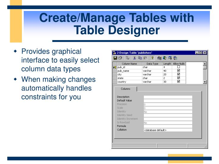 Create/Manage Tables with Table Designer