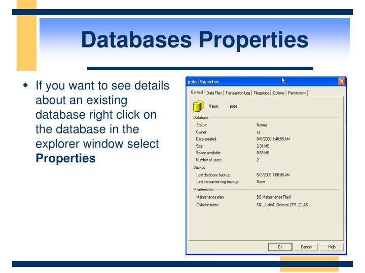 Databases Properties