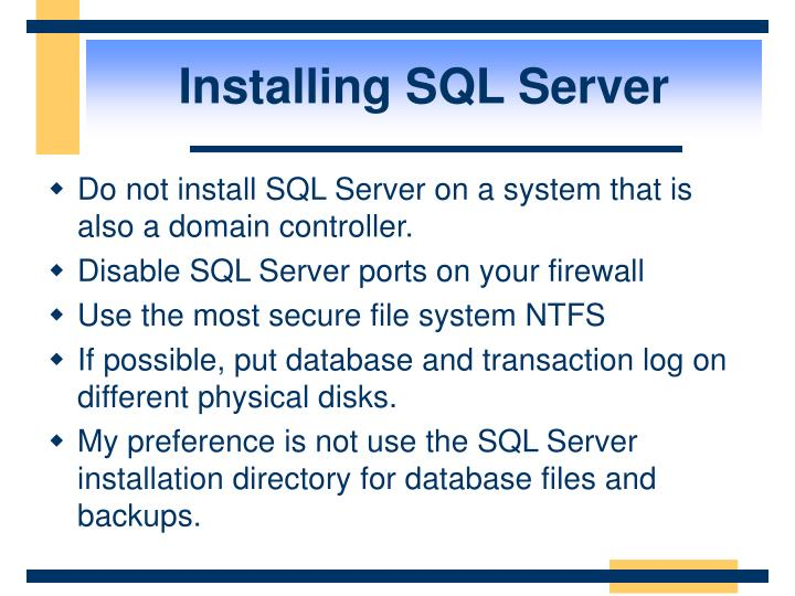 Installing SQL Server