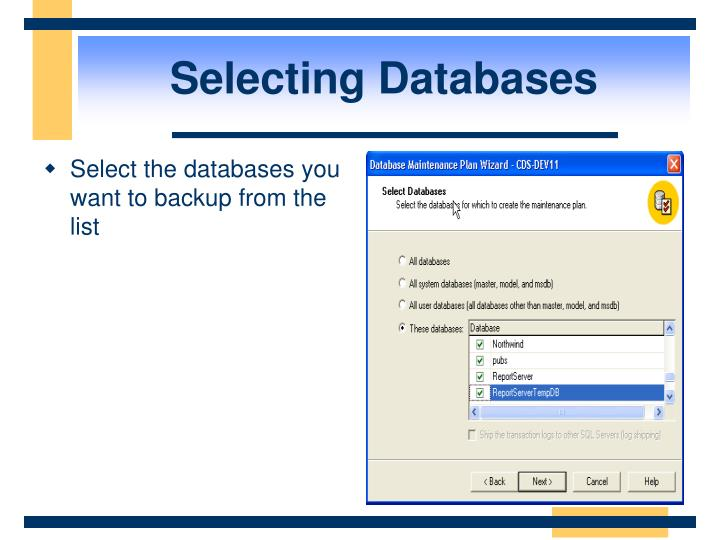 Selecting Databases