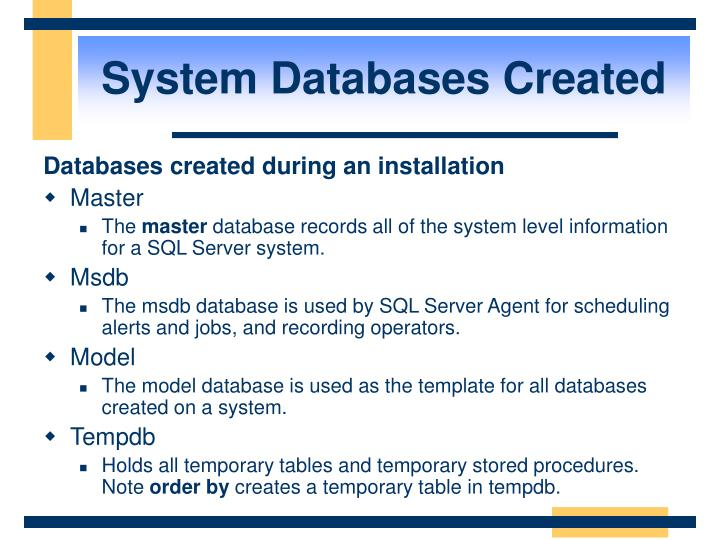 System Databases Created