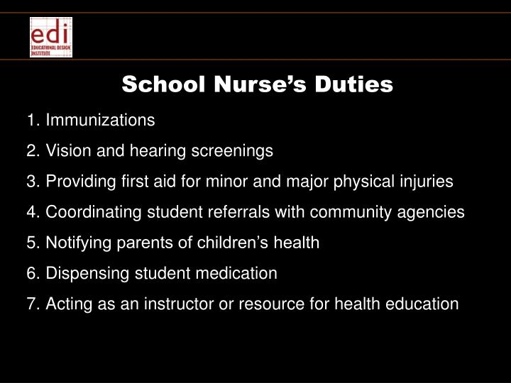 School Nurse's Duties