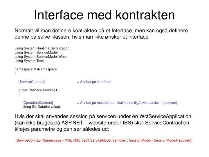 Interface med kontrakten