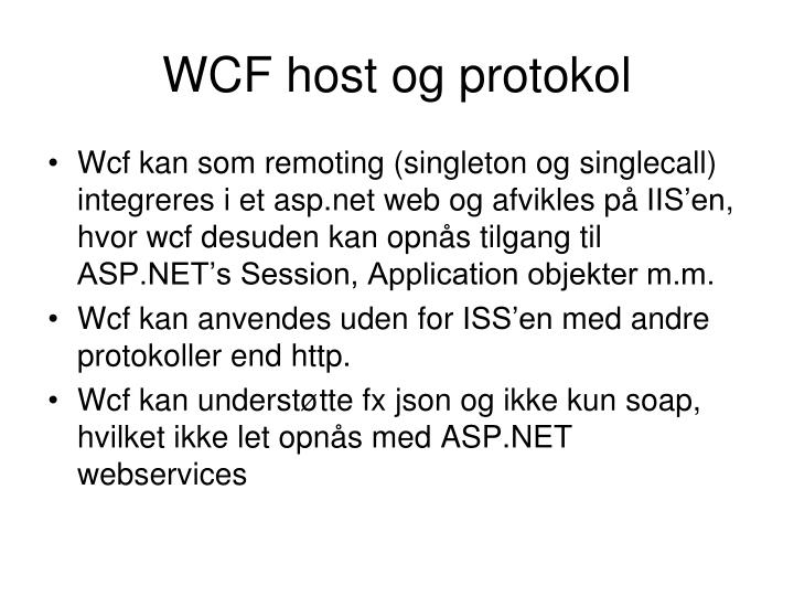 WCF host og protokol