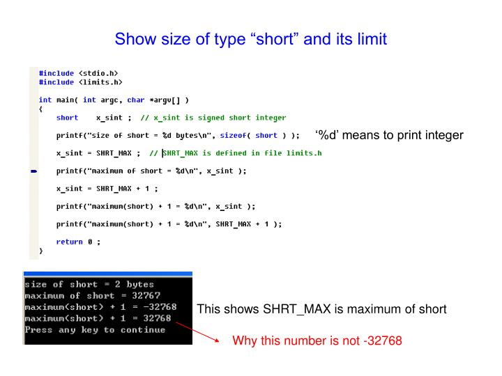 "Show size of type ""short"" and its limit"