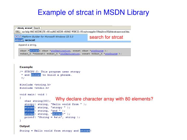 Example of strcat in MSDN Library