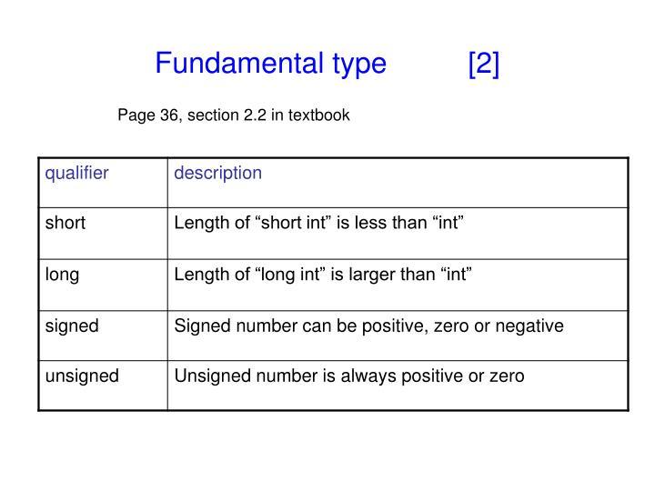 Fundamental type          [2]