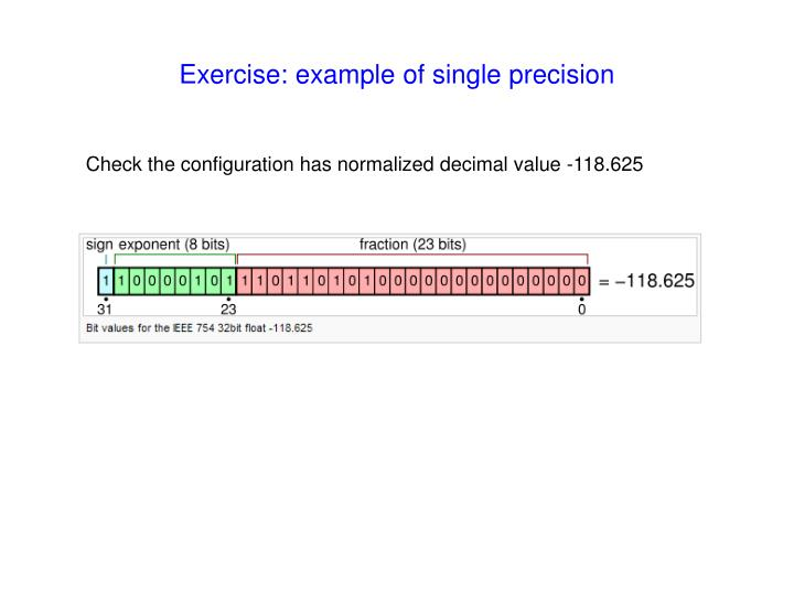 Exercise: example of single precision
