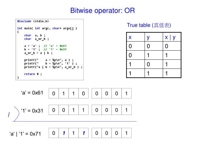 Bitwise operator: OR