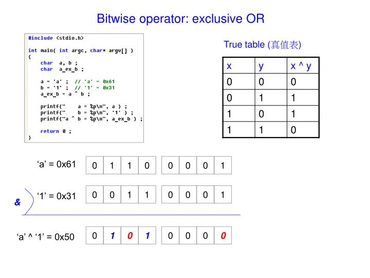 Bitwise operator: exclusive OR