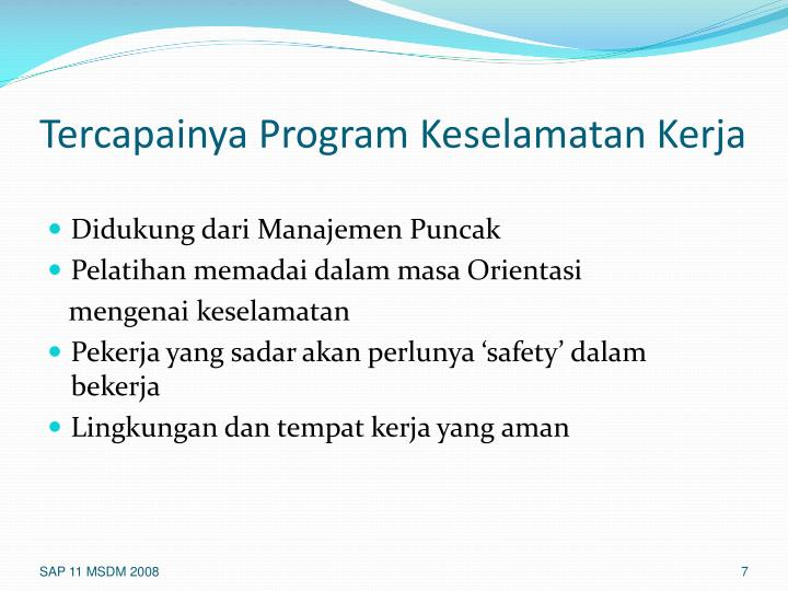 Tercapainya Program Keselamatan Kerja