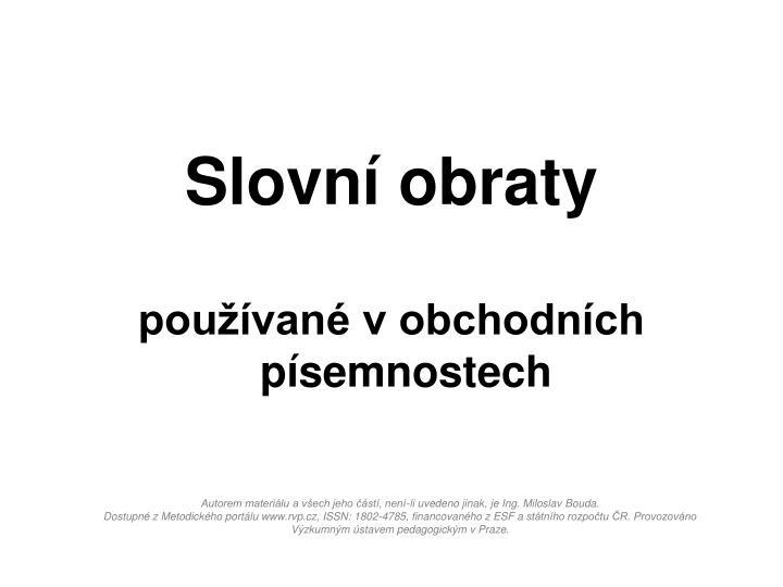 Slovní obraty