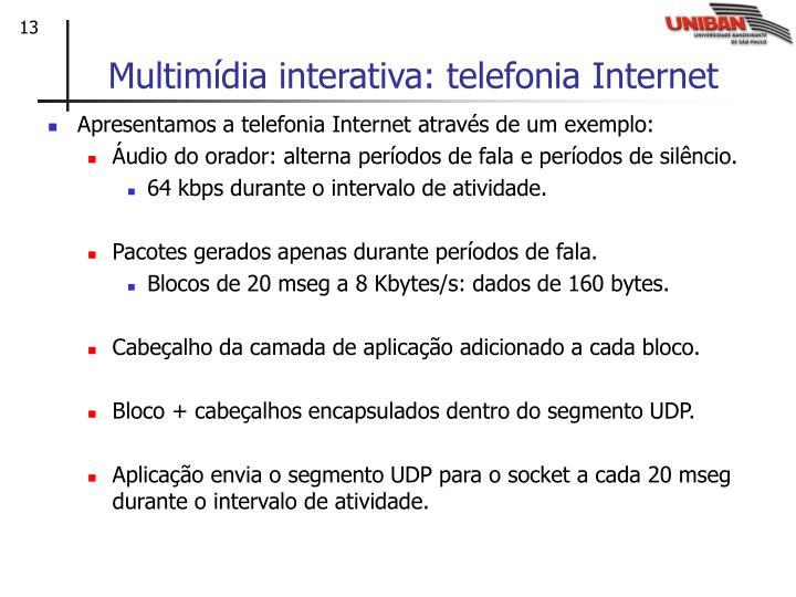 Multimídia interativa: telefonia Internet