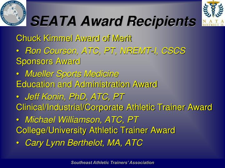 SEATA Award Recipients