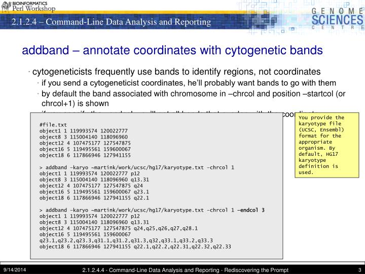 Addband annotate coordinates with cytogenetic bands