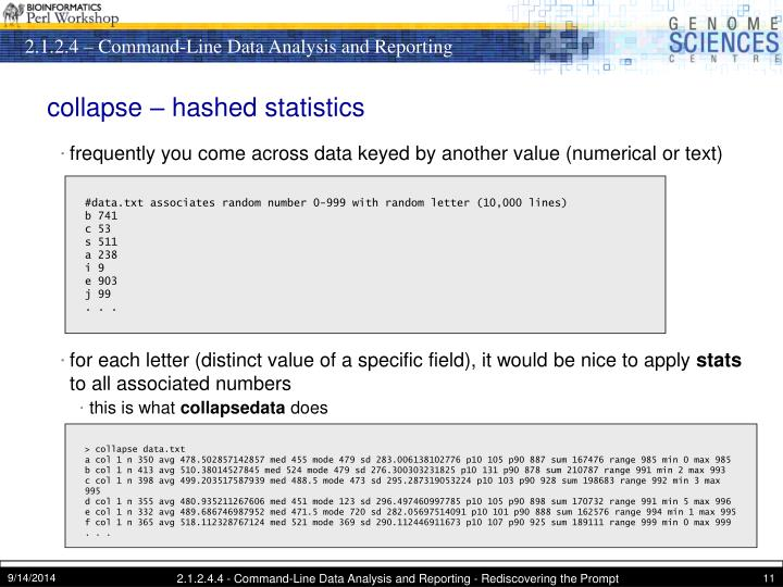 collapse – hashed statistics