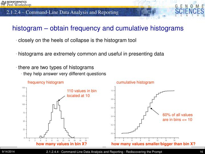 histogram – obtain frequency and cumulative histograms