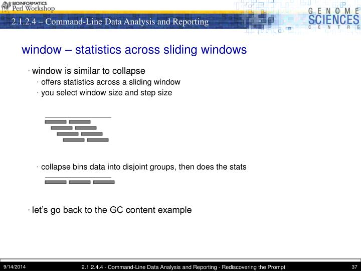 window – statistics across sliding windows