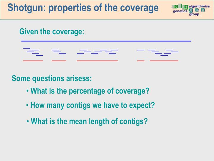 Shotgun: properties of the coverage