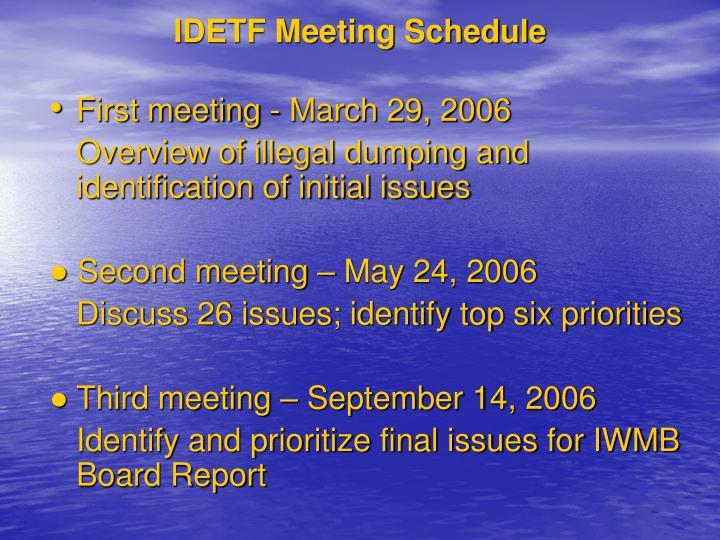 IDETF Meeting Schedule