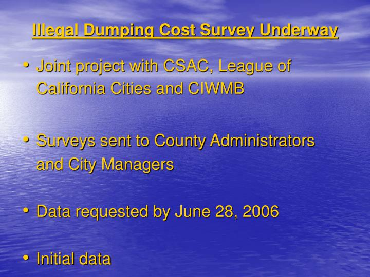 Illegal Dumping Cost Survey Underway