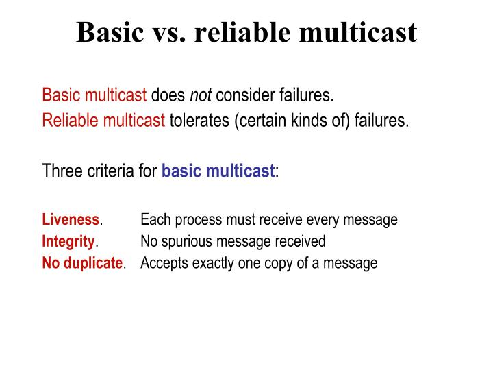 Basic vs. reliable multicast