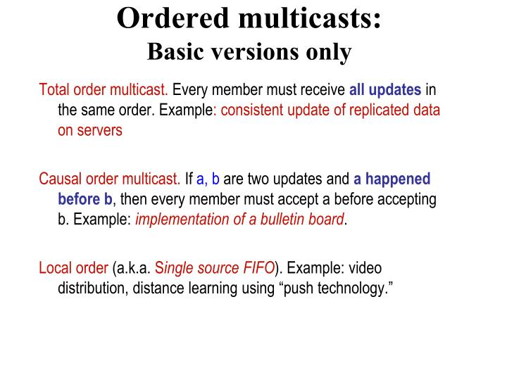 Total order multicast.