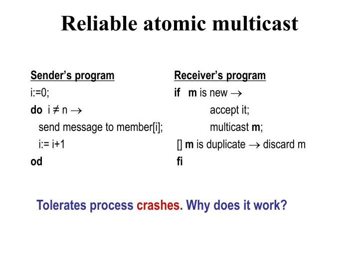 Reliable atomic multicast