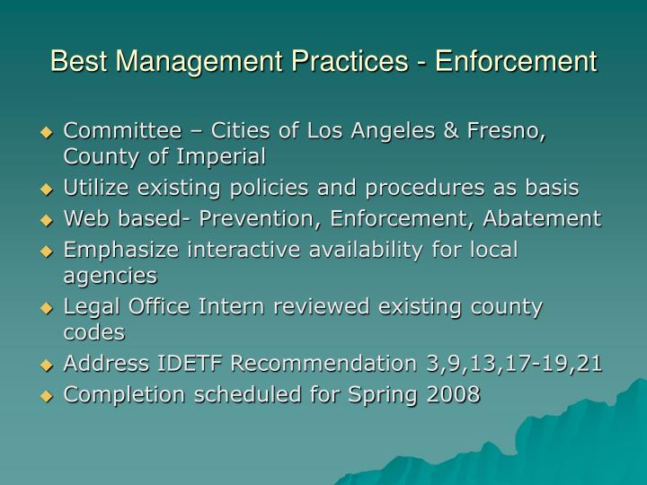 Best Management Practices - Enforcement
