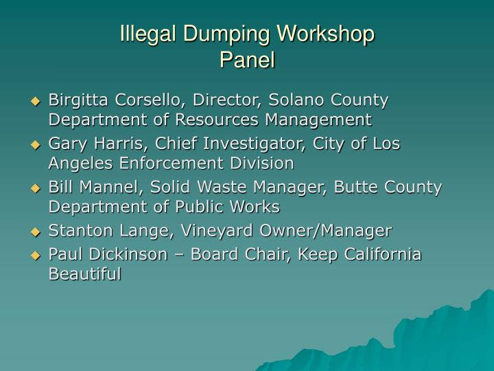 Illegal Dumping Workshop