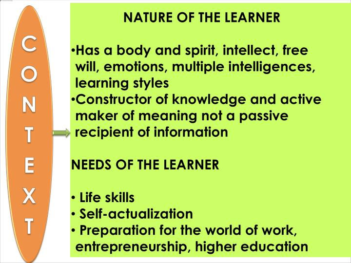 NATURE OF THE LEARNER