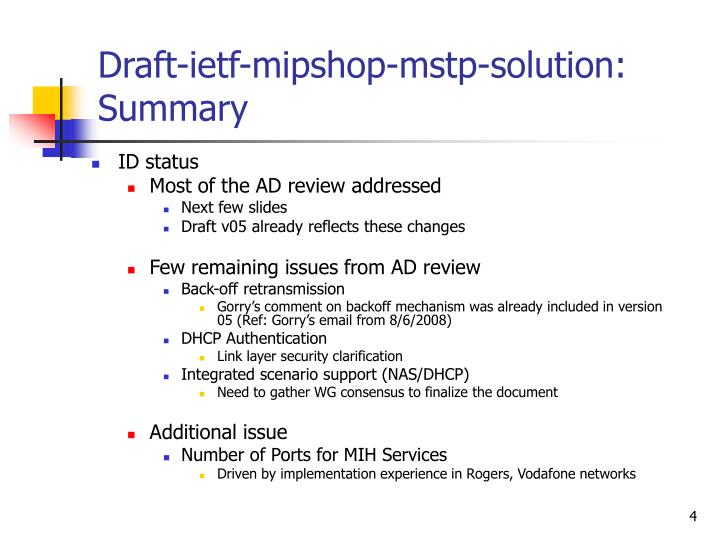 Draft-ietf-mipshop-mstp-solution: Summary