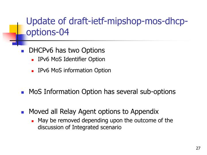 Update of draft-ietf-mipshop-mos-dhcp-options-04