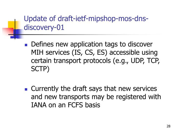 Update of draft-ietf-mipshop-mos-dns-discovery-01