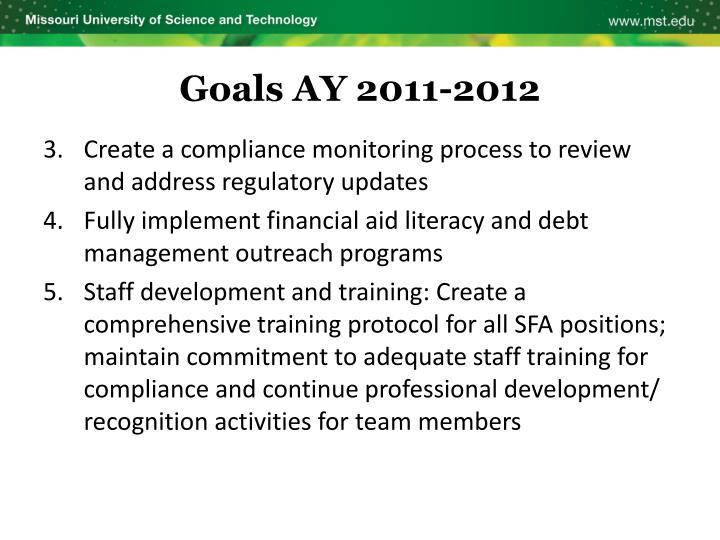 Goals AY 2011-2012