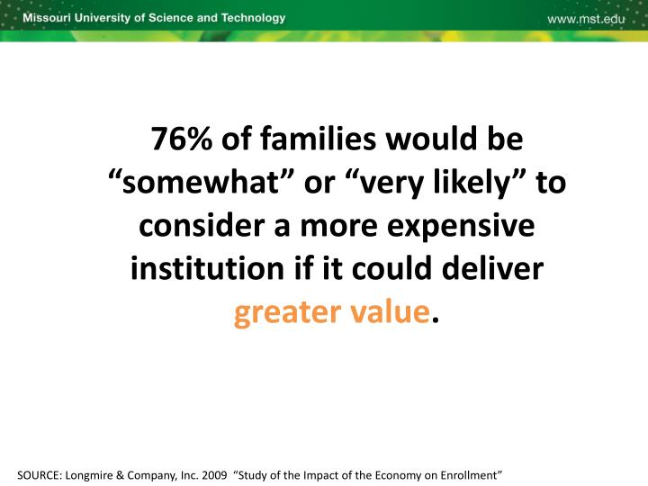 "76% of families would be ""somewhat"" or ""very likely"" to consider a more expensive institution if it could deliver"