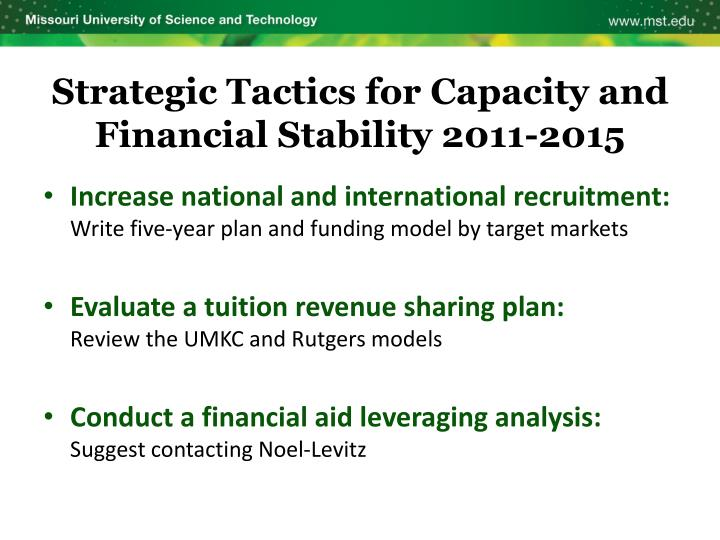 Strategic Tactics for Capacity and Financial Stability 2011-2015