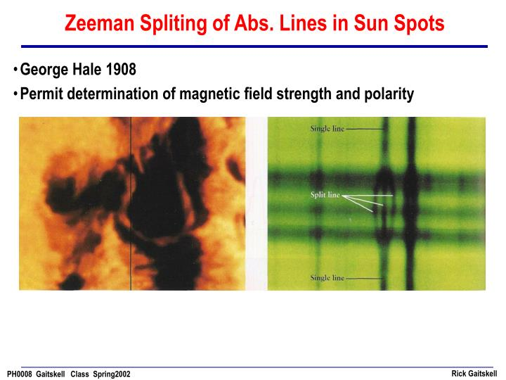Zeeman Spliting of Abs. Lines in Sun Spots