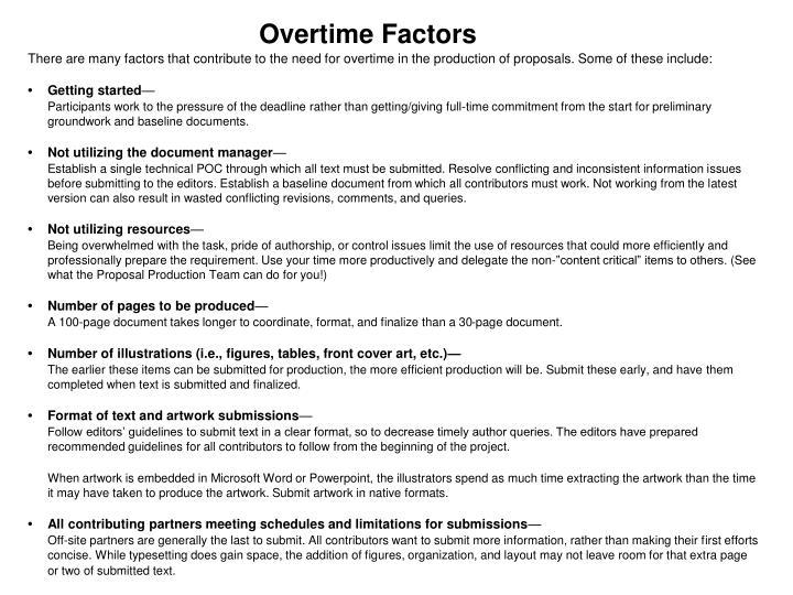 Overtime Factors