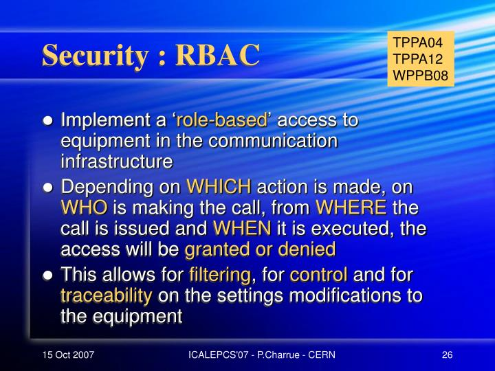 Security : RBAC