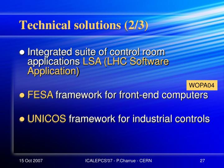 Technical solutions (2/3)