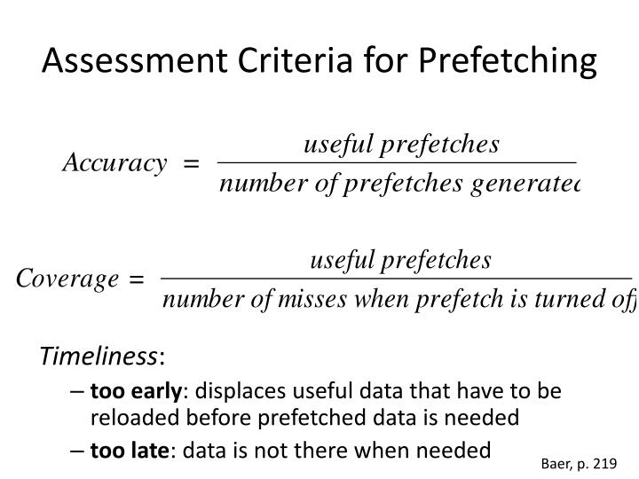 Assessment Criteria for Prefetching