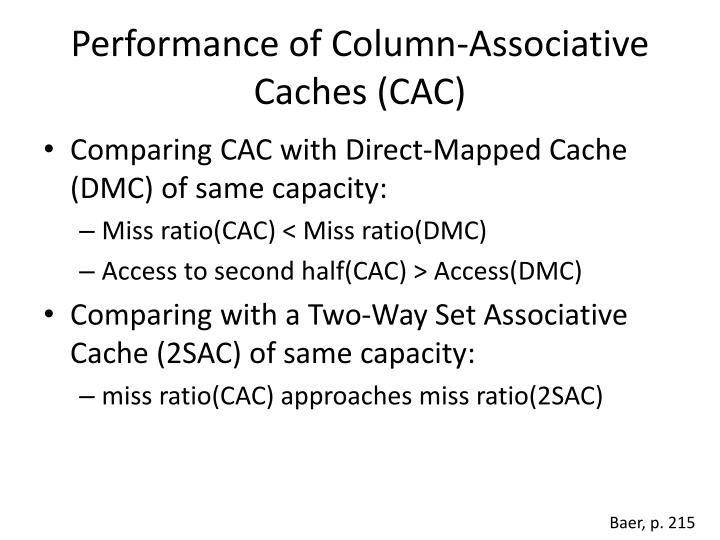 Performance of Column-Associative Caches (CAC)