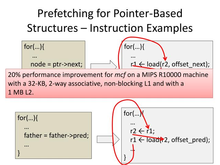 Prefetching for Pointer-Based Structures – Instruction Examples