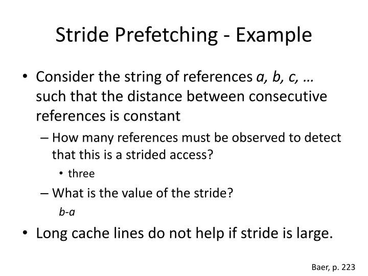 Stride Prefetching - Example