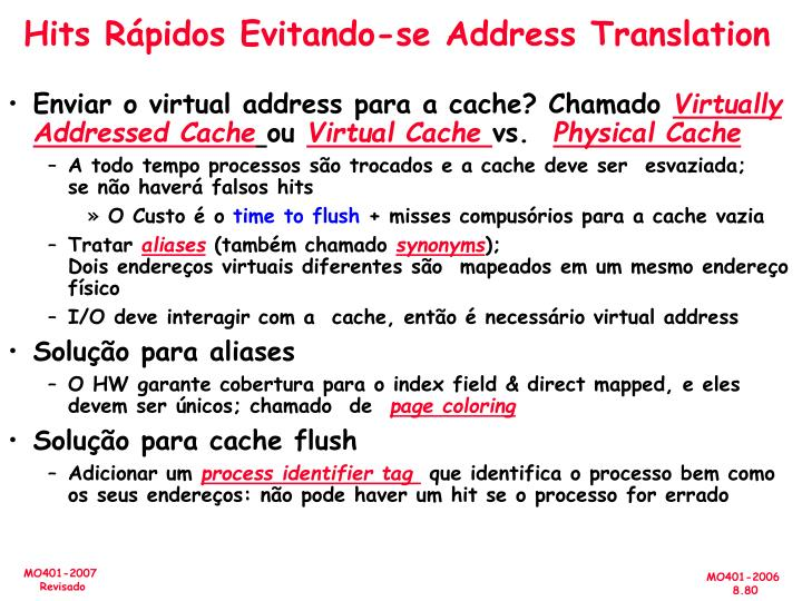 Hits Rápidos Evitando-se Address Translation